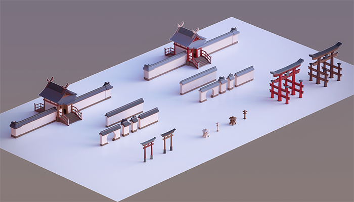 Oriental Walls and Gates Low Poly Asset