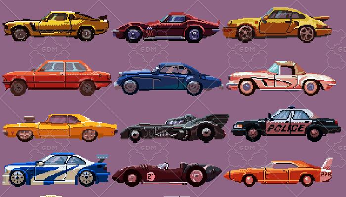 Pixel cars sprites