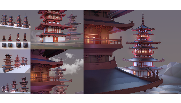Pagoda Low Poly Low-poly Asset
