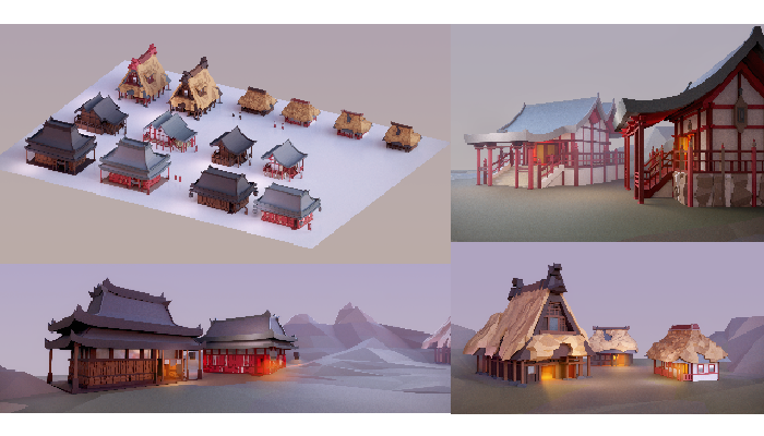 Asian Style Village Low Poly Asset