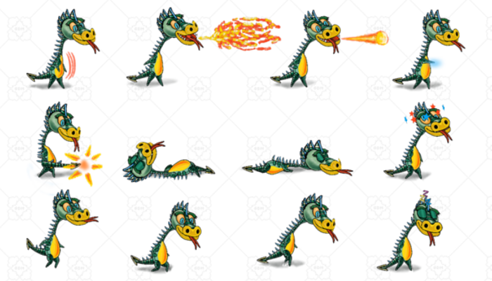 Spine 2D Platformer Character Dino1