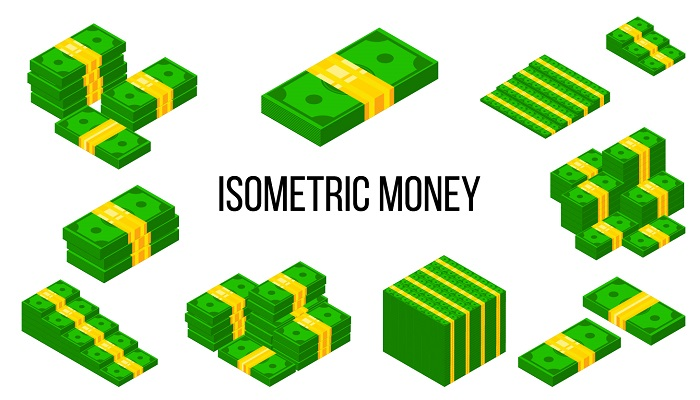 Isometric money banknote tile icons pack. 3D Stacked piles of cash