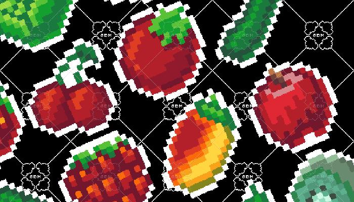Fruit and Veg Pixel Art Icons