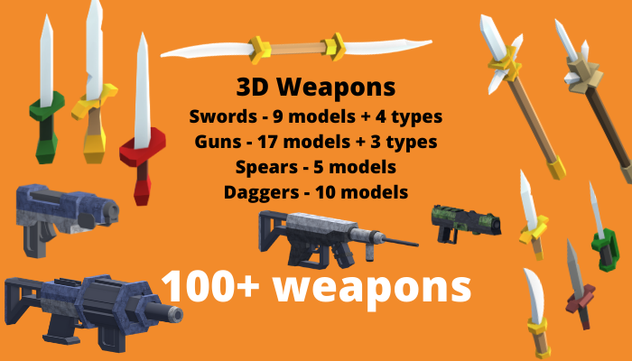 3D Weapons – 100+ objects included