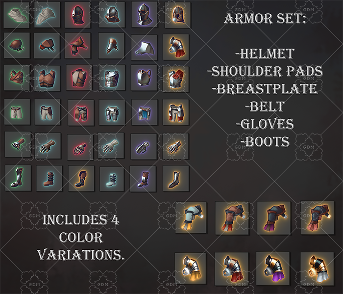 A set of 205 armor icons
