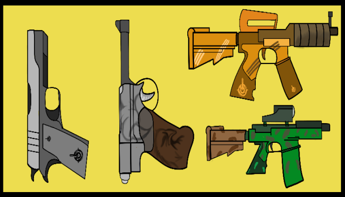 Highly detailed Worked Gun set for every game type