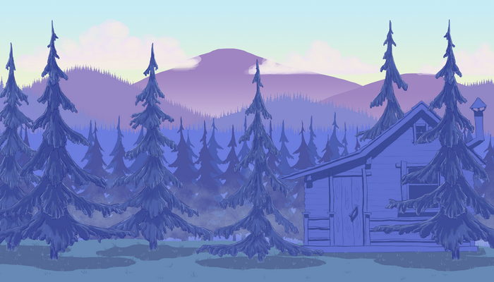 Forest&hills parallax background +bonus cabin