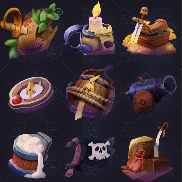 Casual pirate icons