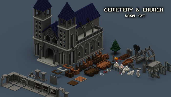 Cemetery and Church Voxel Set