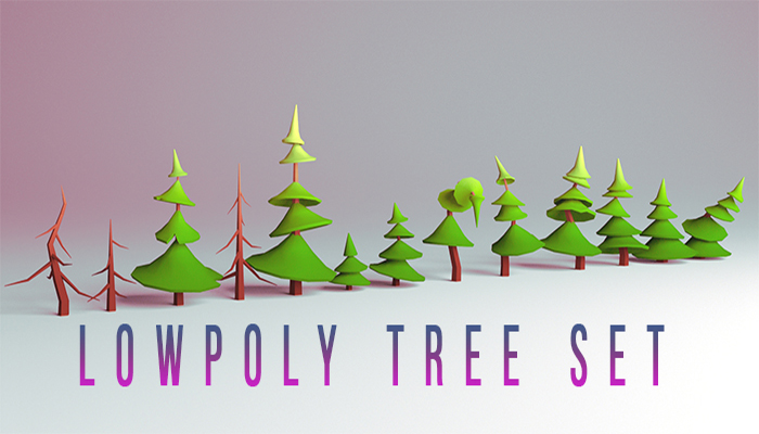 Low-poly tree set