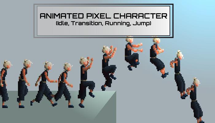 Pixel running man