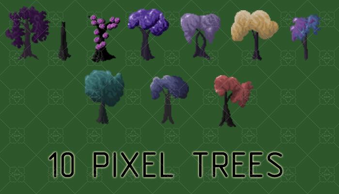 10 pixel trees