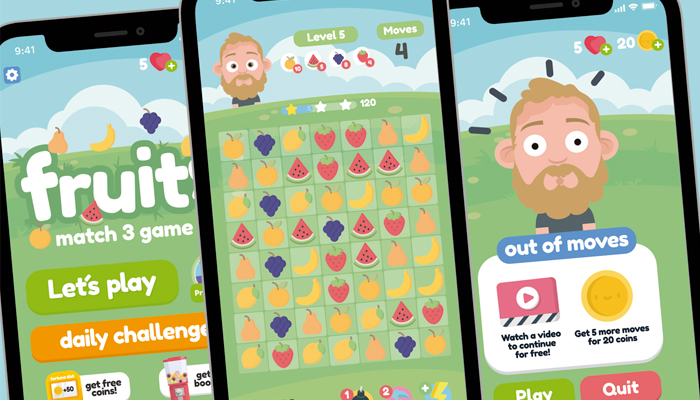 Fruits Match 3 Game Gui Assets