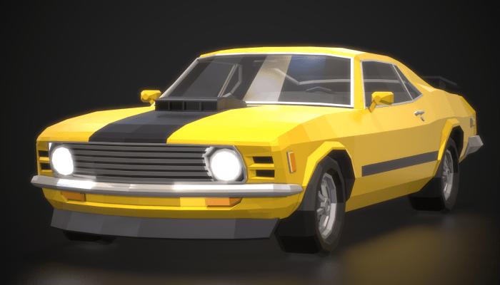 Low Poly Retro Muscle Car 01