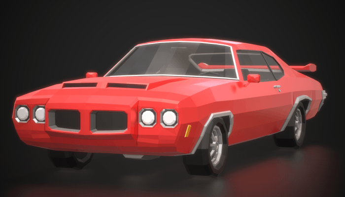 Low Poly Retro Muscle Car 02