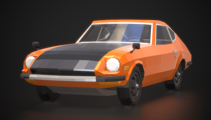 Low Poly Retro Sports Car 01