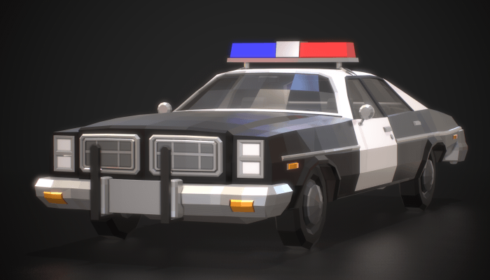 Low-Poly Retro Police Car 01