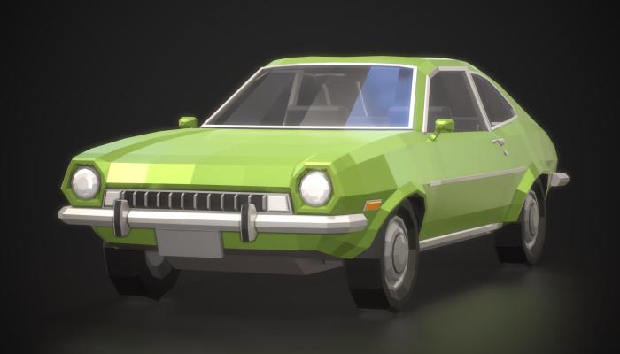 Low-Poly Retro City Car 01