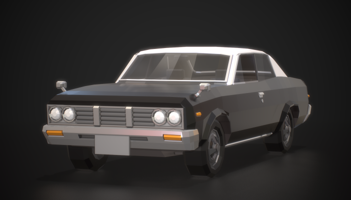 Low-Poly Retro City Car 02