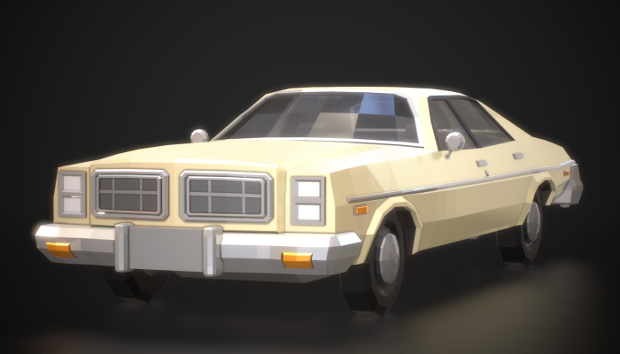 Low-Poly Retro City Car 03