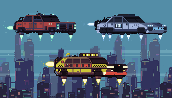 Animated Cyberpunk Pixel Cars
