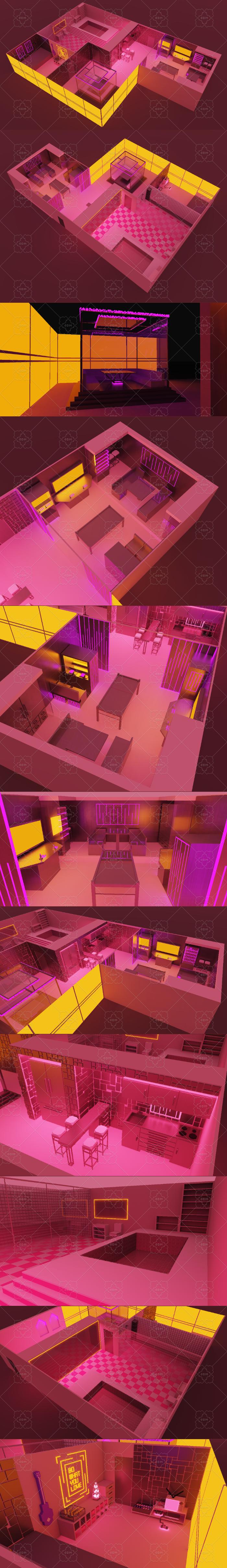 3D neon apartment in retro futurism style