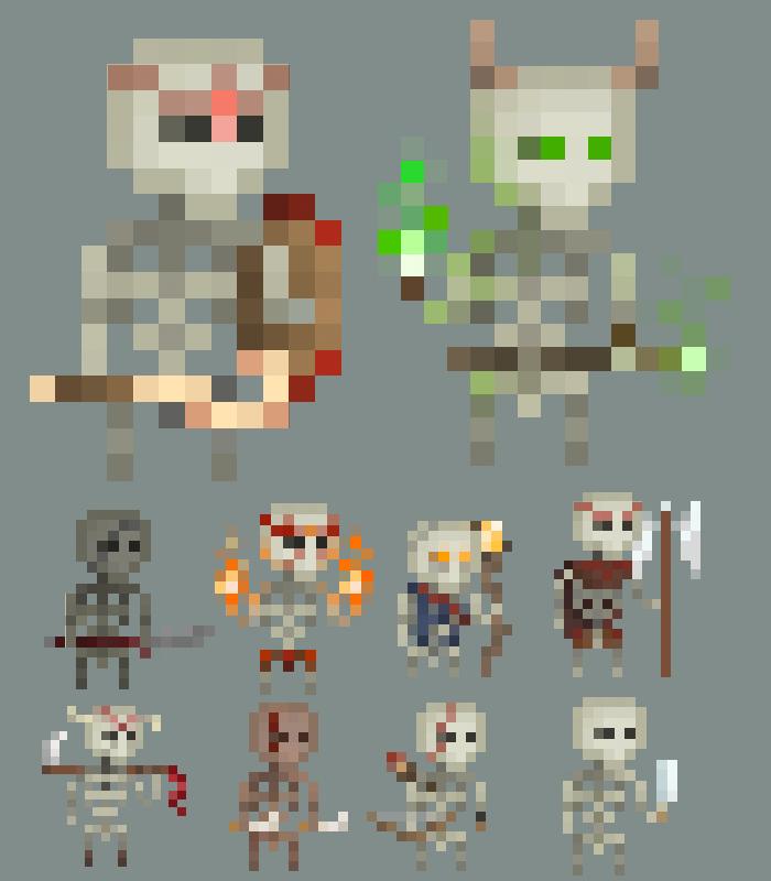 10 Pixel Skeletons