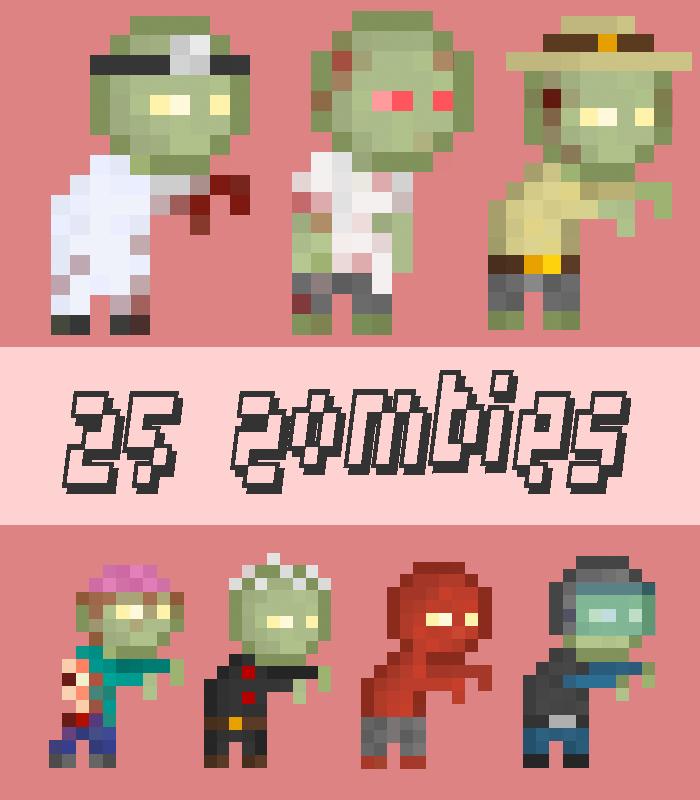 25 Pixel Zombie Sprites