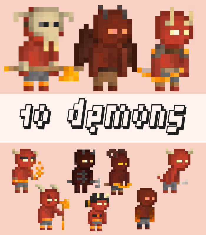 10 Pixel Demon Warriors