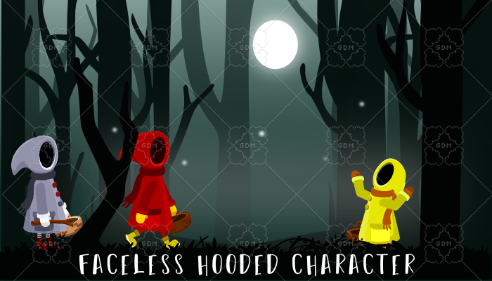 Faceless hooded character