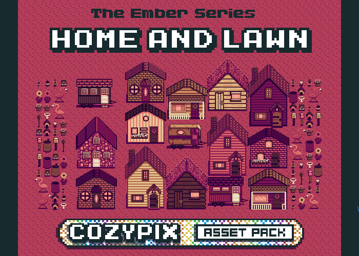 Home & Lawn – 2D Pixel Asset Pack – Ember Series