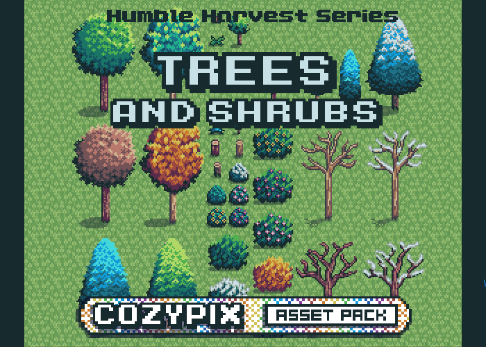 Trees & Shrubs – 2D Pixel Asset Pack – Humble Harvest Series