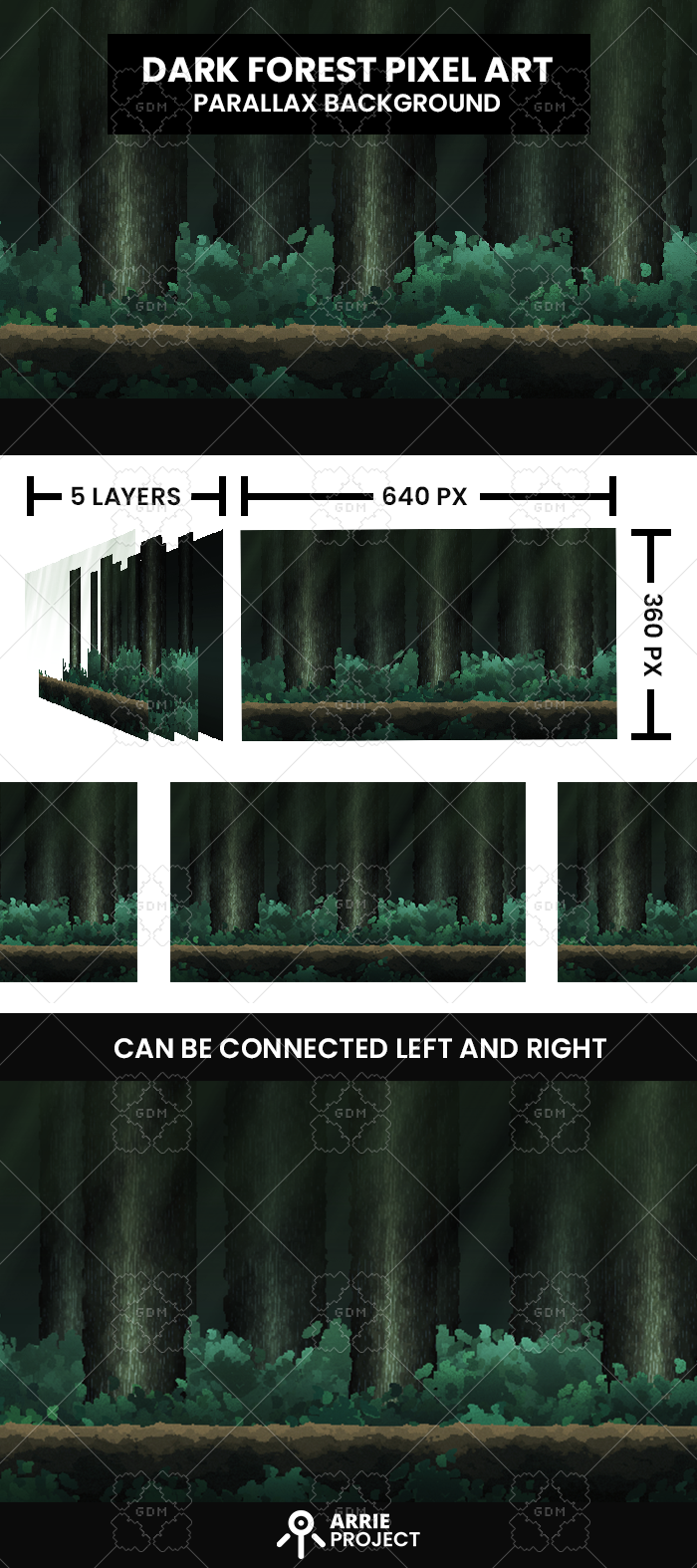 Dark Forest PixelArt Background