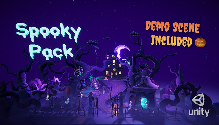 Cartoon spooky low poly 3D models