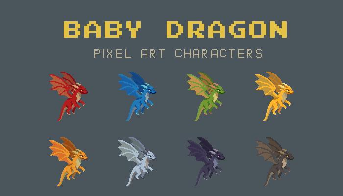 Baby Dragon Pixel Art Character