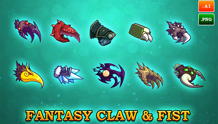 2D FANTASY CLAW & FIST SET