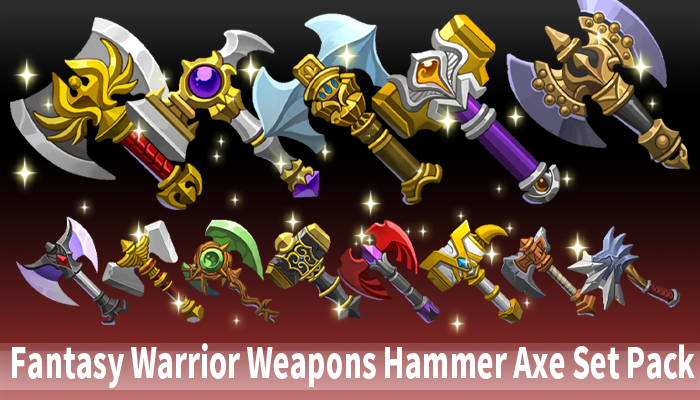 Fantasy Warrior Weapons Hammer Axe Set Pack