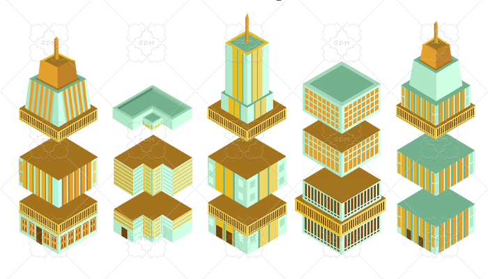 skyscrapers blocks isometric
