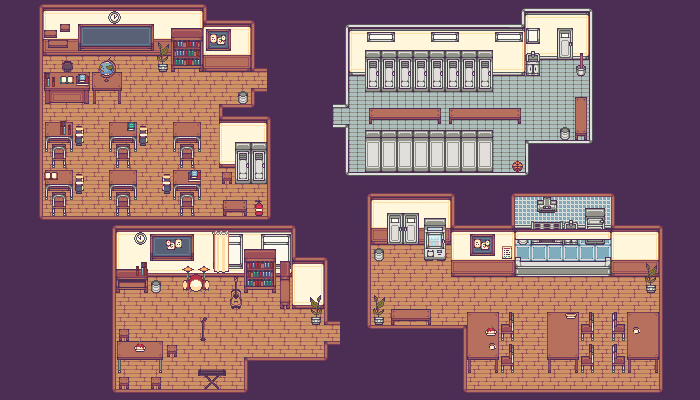 [JAPAN SCHOOL] PIXEL TILESET