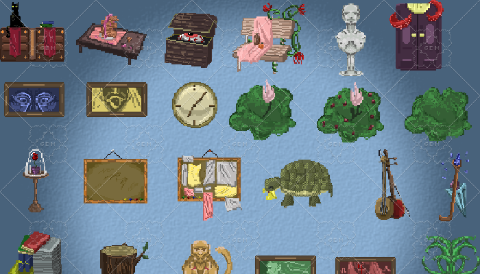 Fantasy pixel art interior objects