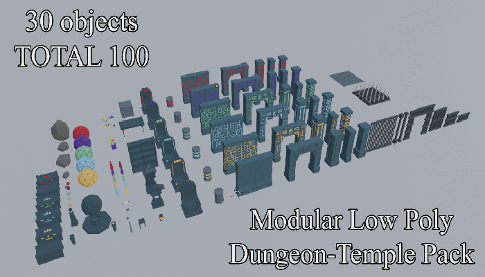 Modular Low Poly Dungeon Temple Pack
