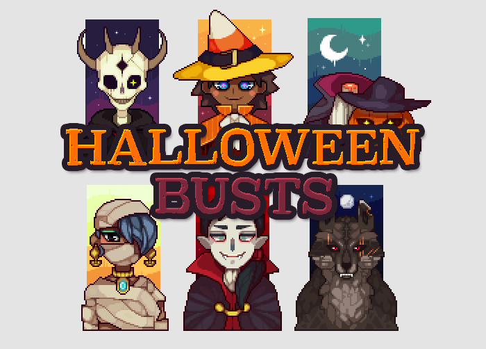 6 Halloween Pixelated Busts