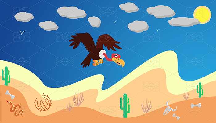 Desert background and sprites vector