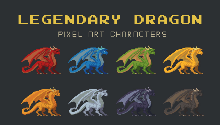 Legendary Dragon Pixel Art Character