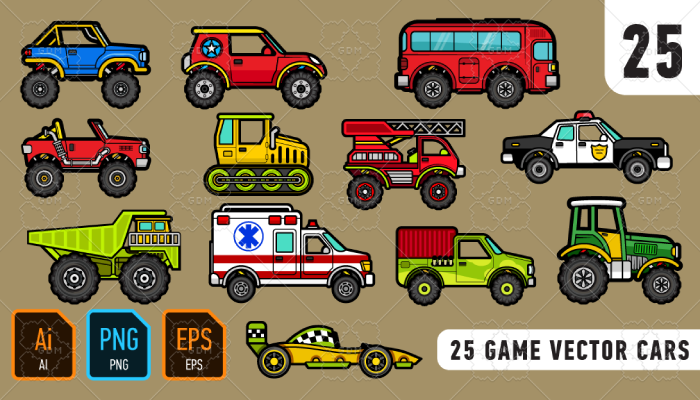 25 game vector cars