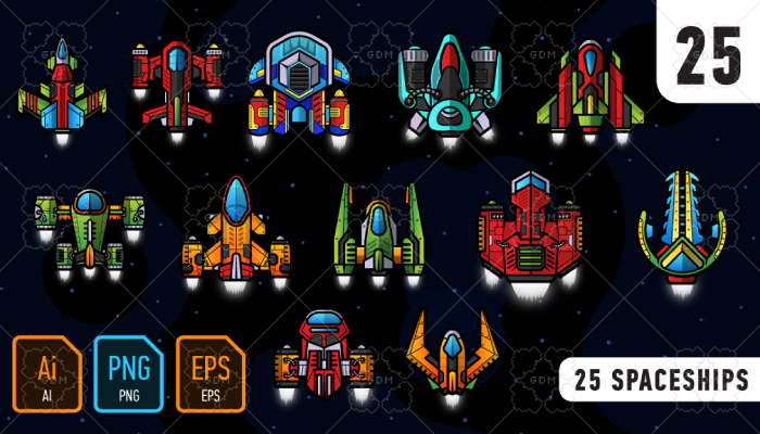 25 spaceships