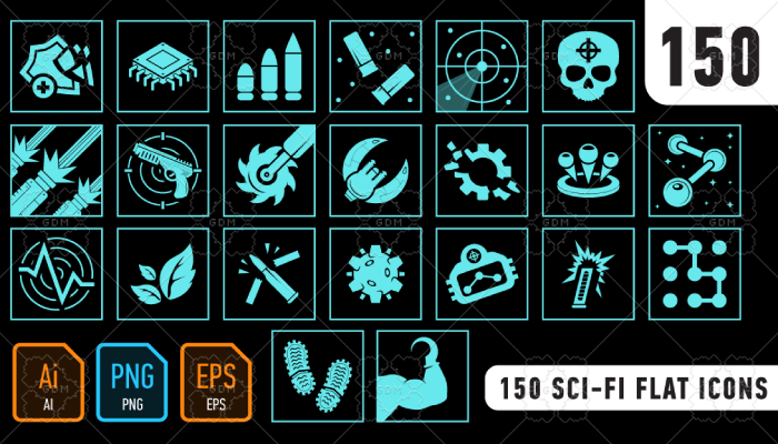 150 Sci-Fi Flat icons