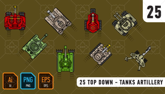 25 Top down – tanks artillery