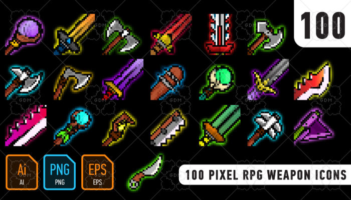 100 Pixel RPG weapon icons