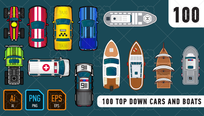 100 Top down cars and boats
